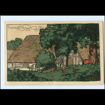 Y14073/ Bauernhäuser Schleswig-Holstein Steinzeichnung Litho AK 1920