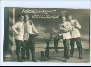 Y13814/ Soldatenleid- Soldatenfreud Foto AK 1917