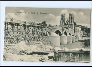 Y14175/ Moselbrücke in Pont -a- Mousson AK 1. Weltkrieg Frankreich 1917