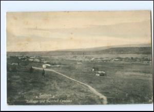 U8752/ Serbien Zeltlager und Bahnhof Gradsko 1918 AK 1. Weltkrieg