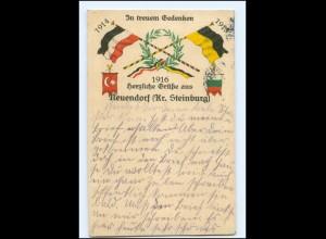 Y14299/ Neuendorf Krs. Steinburg 1. Weltkrieg Fahnen u.a. Türkei 1915