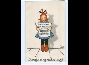 U8705/ Dora Heckel Litho AK Mädchen singt, 1. Weltkrieg