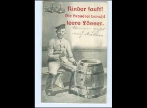 Y14172/ Soldat trinkt Bier Bierfaß HUmor AK 1910