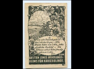 Y14035/ Verein erblindeter Kriegsteilnehmer Kriegsblinde Wohlfahrts AK 1920
