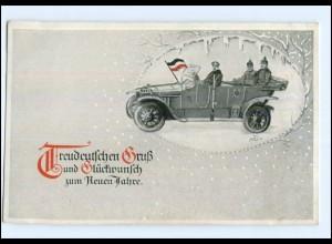 Y14032/ Treudeutscher Gruß, Neujahr Soldaten im Auto AK 1917