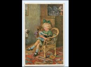 Y14173/ Mädchen und Puppe Künstler AK Rob. Völker Münchener Kunst AK 1920