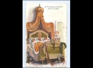 """Y13983/ Soldaten im Bett """"In Frankreich 1941/15"""" Hans Leu AK Verlag: Primus 1915"""