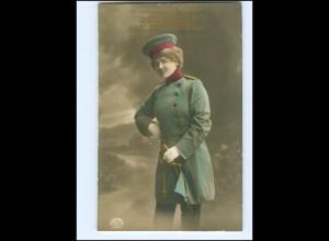 U8883/ Donnerwetter Tadellos ! Frau in Uniform schöne Foto AK 1917 WK1