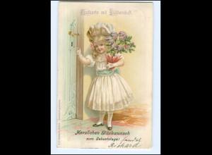 Y14023/ Postkarte mit Blumenduft Litho AK Mädchen mit Blumen, Geburtstag 1905