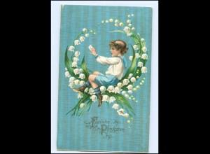 Y13836/ Pfingsten Junge Maiglöckchen 1906 Litho Prägedruck AK