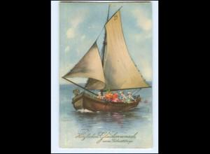 U8652/ Hannes Petersen AK Kinder im Segelboot Geburtstag 1931