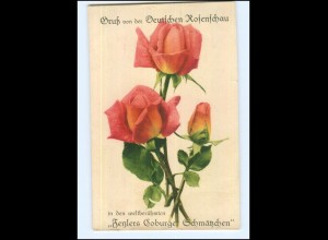 Y14278/ Gruß von der Deutschen Rosenschau Coburg AK 1929