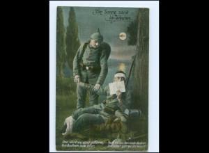 """Y14022/ Verwundeter Soldat """"die Sonne sank im Westen"""" 1. Weltkrieg AK"""