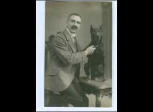 Y14464/ Mann mit Hund Foto AK ca.1920