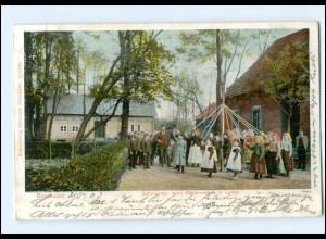 XX006214/ Spreewald Schulkinder beim Bäderreigen in Lehde AK 1903