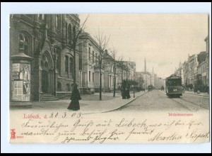 XX006089/ Lübeck Mühlenstraße Straßenbahn AK 1903