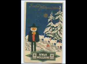 XX008631/ Weihnachten NW & K Wollgarne Werbung schöne Litho AK 1925
