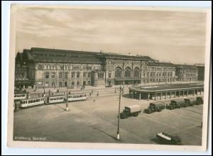 XX008878/ Straßburg Bahnhof Straßenbahn LKW Foto AK ca.1940 Elsaß