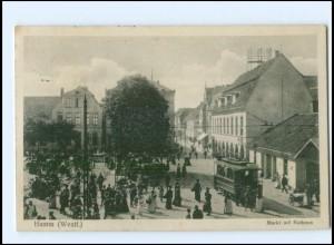 XX008845/ Hamm Westf. Markt Straßenbahn AK 1915