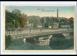 XX006289-8670/ Hof i. B. Straßenbahn Untere Steinerne Brücke AK 1909