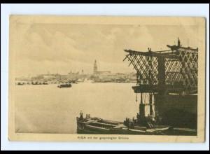 U8789/ Riga mit der gesprengten Brücke AK Lettland