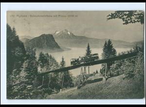 U8787/ Rigibahn Schnurtobelbrücke Bergbahn AK Schweiz 1917 (Luz)