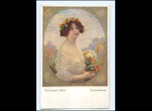 Y14188/ Chrysanthemum Frau mit Blumen Künstler AK 1919