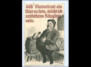Y14189/ Dicker Mann trinkt Bier Humor O. Merte AK 1910