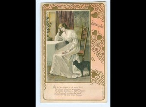 Y14186/ Sehnsucht - junge Frau und Katze Jugendstil Litho Präge AK 1902