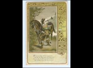 Y14187/ Behüt Dich Gott! Trompeter Jugendstil Litho Präge AK 1902