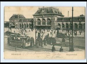 XX006683/ Düsseldorf Bahnhof Straßenbahn AK 1905