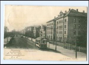 XX007083/ Augsburg Göggingerstraße Straßenbahn 1901 AK
