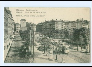 XX006451/ München Isarthorplatz Straßenbahn Litfaßsäule AK 1908
