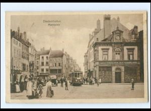 XX006449/ Diedenhofen Marktplatz Straßenbahn AK 1920 Lothringen