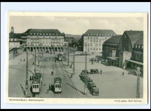 XX007794/ Karlsruhe Bahnhofplatz Straßenbahn AK
