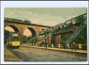 XX007123/ Wuppertal Eisenbahn Schwebebahn Straßenbahn 1912 AK