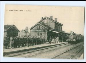 XX007494/ Aire-sur-la-Lys La Gare Bahnhof Eisenbahn AK ca.1912