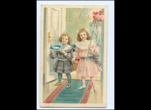 XX006925/ Geburtstag Mädchen Blumen Hufeisen 1917 Litho Prägedruck AK