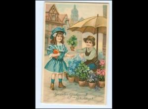 XX006923/ Geburtstag Kinder Blumen 1915 Litho Prägedruck AK