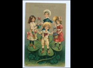 XX006922/ Geburtstag Kinder Kleeblatt 1914 Litho Prägedruck AK