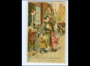 XX006921/ Geburtstag Vater mit Kindern Geld 1914 Litho Prägedruck AK