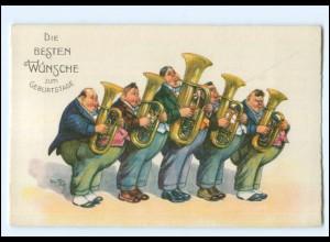 XX006756/ Arthur Thiele AK Geburtstag Musikkapelle Tuba ca. 1930
