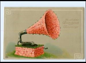 XX10185/ Grammophon Geburtstag Litho Prägedruck AK 1912