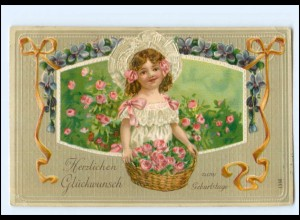 XX006918/ Geburtstag Mädchen Rosen 1916 Litho Prägedruck AK