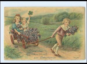 XX10186/ Geburtstag Kinder mit handkarren Litho AK 1910