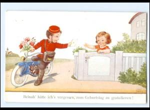 XX006665/ Geburtstag John Wills AK Motorrad Kinder Briefträger 1942
