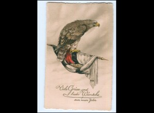 XX008903/ Neujahr 1. Weltkrieg Patriotik Litho AK Adler Fahne