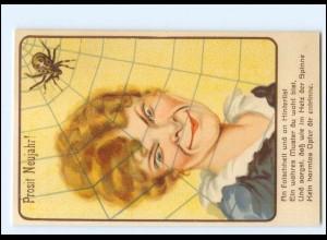 XX006758/ Frau und Spinne Neujahr Humor Litho AK ca.1925