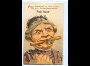 XX006762/ Neujahr Litho Humor AK alte Frau mit Schloß am Mund