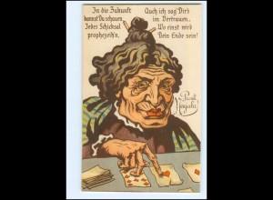 XX006759/ Kartenlegen Zukunft alte Frau Humor Litho AK Neujahr